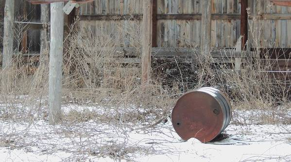 Old Rustic Barn And Barrel Print featuring the photograph Barn #38 by Todd Sherlock