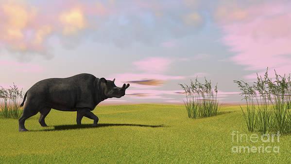 Three Dimensional Art Print featuring the digital art Brontotherium Grazing In Prehistoric by Kostyantyn Ivanyshen
