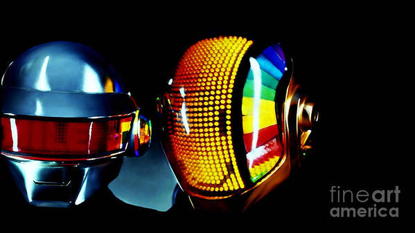 Tron Paintings Art Print featuring the mixed media Daft Punk by Marvin Blaine