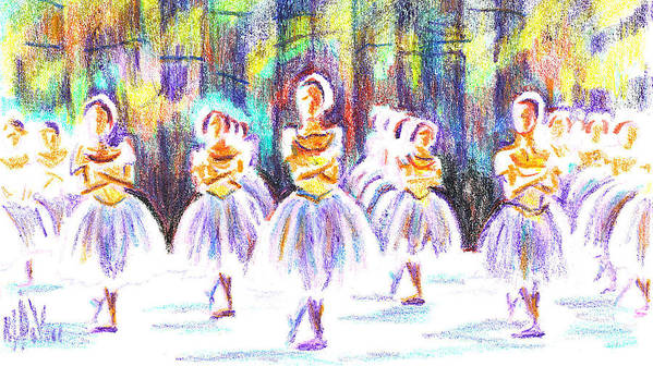 Dancers In The Forest Ii Art Print featuring the painting Dancers In The Forest II by Kip DeVore