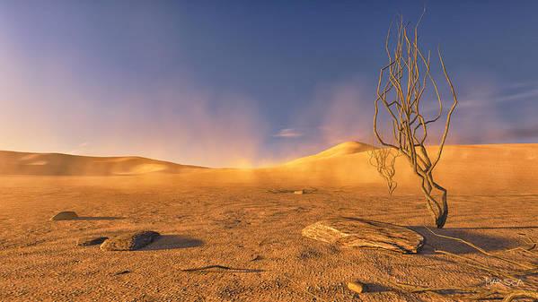 Desert Art Print featuring the digital art Dead Lands by Marina Likholat