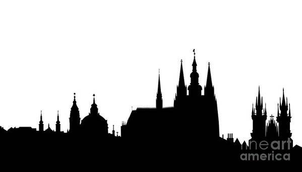 Hradcany Print featuring the digital art famous landmarks of Prague by Michal Boubin