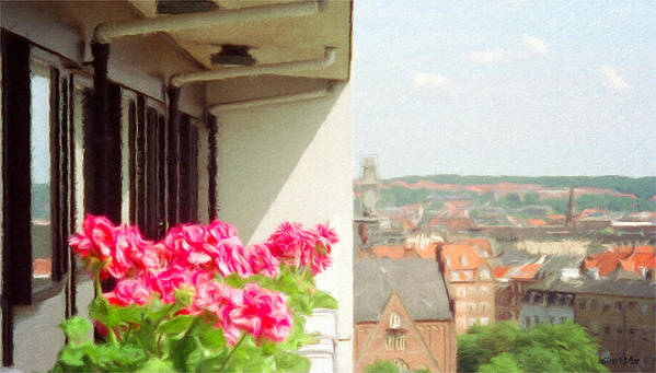 Aarhus Art Print featuring the painting Flowers On The Balcony by Jeffrey Kolker