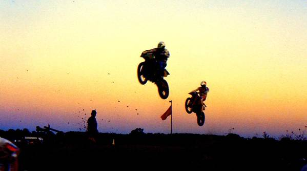 Supercross Art Print featuring the photograph Flying Frenchmen by Guy Pettingell