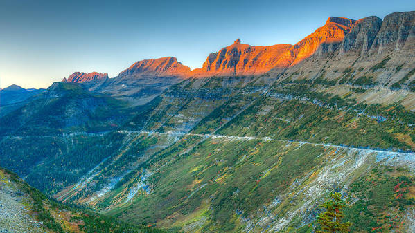 Logan Pass Art Print featuring the photograph Garden Wall Sunset by Brenda Jacobs