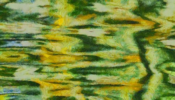 Green And Yellow Abstract Art Print featuring the painting Green And Yellow Abstract by Dan Sproul