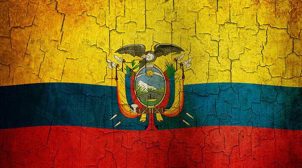Aged Art Print featuring the digital art Grunge Ecuador Flag by Steve Ball