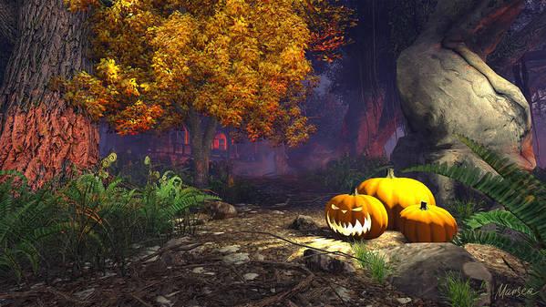 Halloween Art Print featuring the digital art Halloween Pumpkins by Marina Likholat