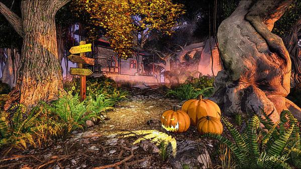 Halloween Art Print featuring the digital art Haunted House by Marina Likholat