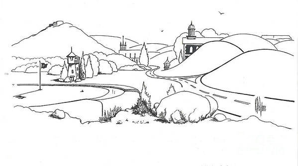 In The Land Of Brigadoon Art Print featuring the drawing In The Land Of Brigadoon by Kip DeVore