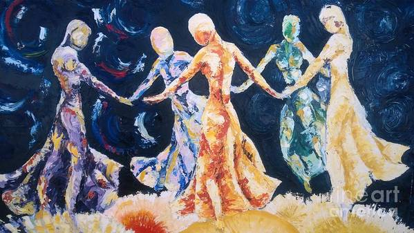 Women Print featuring the painting In Their Midst by Rhonda Falls