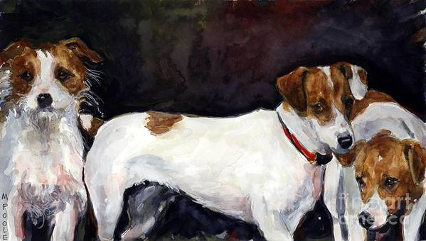 Jack Russell Terriers Art Print featuring the painting Jack Trio by Molly Poole