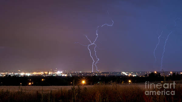 Lightning Art Print featuring the photograph Lightning Composite 1 by Benjamin Reed