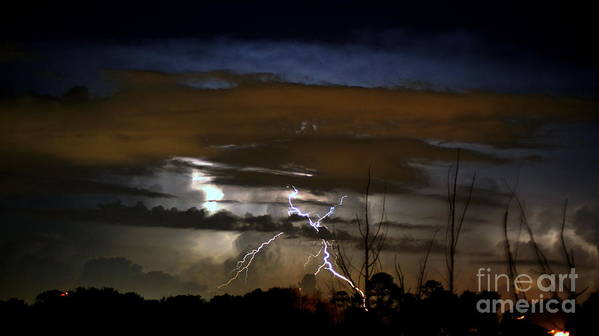 Lightning Art Print featuring the photograph Lightning Storm by Paul Wilford