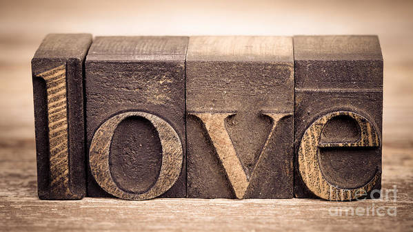 Aged Art Print featuring the photograph Love In Printing Blocks by Jane Rix