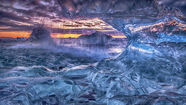 Ice Art Print featuring the photograph Melting Blue Crystal by Peter Svoboda, Mqep