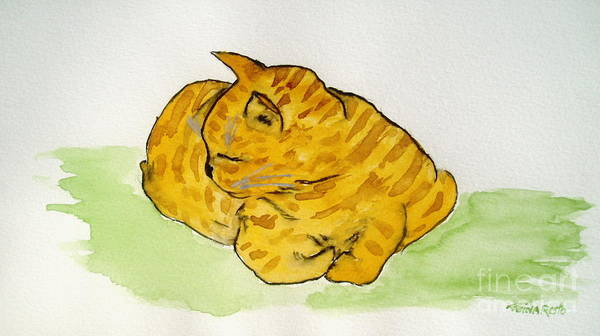 Cat Painting Art Print featuring the painting Mr. Yellow by Reina Resto