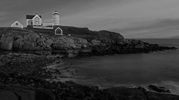Nubble Lighthouse Print featuring the photograph Nubble Light At Sunset Bw by Susan Candelario