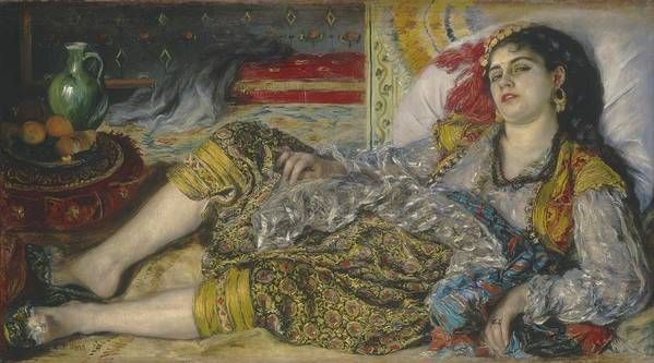 Algerian; Woman; Orientalist; Impressionist; Female; Exotic; North; African; Harem; Concubine; Costume Art Print featuring the painting Odalisque by Pierre Auguste Renoir