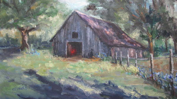 Old Barn Art Print featuring the painting Old Barn In Arkansas by Sharon Franke