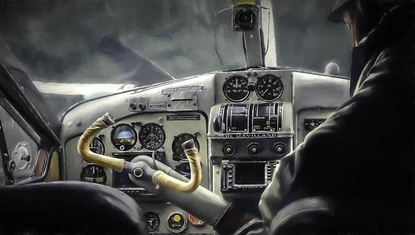 Dehaviland Plane Art Print featuring the painting Old Cockpit by Barb Hauxwell