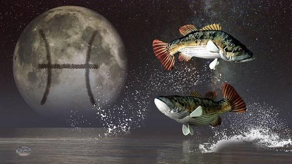 Pisces Art Print Featuring The Digital Zodiac Symbol By Daniel Eskridge