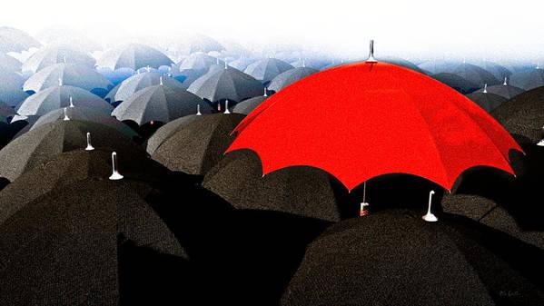 Umbrella Art Print featuring the digital art Red Umbrella In The City by Bob Orsillo