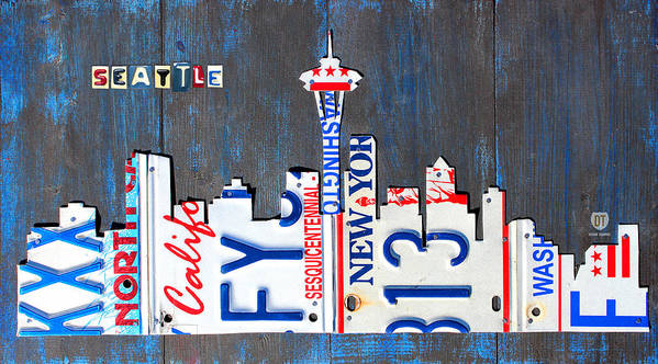 License Plate Map Art Print featuring the mixed media Seattle Washington Space Needle Skyline License Plate Art By Design Turnpike by Design Turnpike