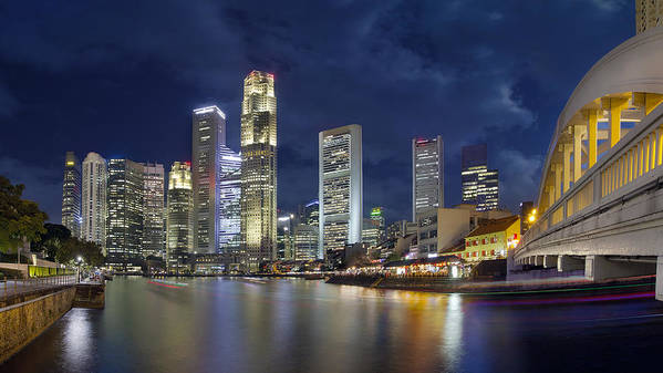 Singapore Art Print featuring the photograph Singapore Skyline From Boat Quay by Jit Lim