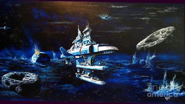 Alien Art Print featuring the painting Stellar Cruiser by Murphy Elliott