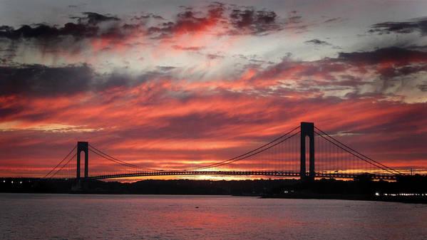 Sunset Art Print featuring the photograph Sunset At Verrazano Narrows Bridge by Choi Ling Blakey