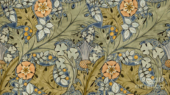 Voysey Art Print featuring the painting Tudor Roses Thistles And Shamrock by Voysey
