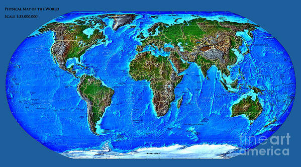 Physical Art Print featuring the digital art Physical Map Of The World by Theodora Brown