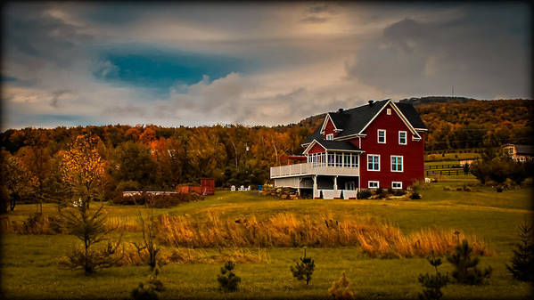 Red Farmhouse Art Print featuring the photograph A Red Farmhouse In A Fallscape by Chantal PhotoPix