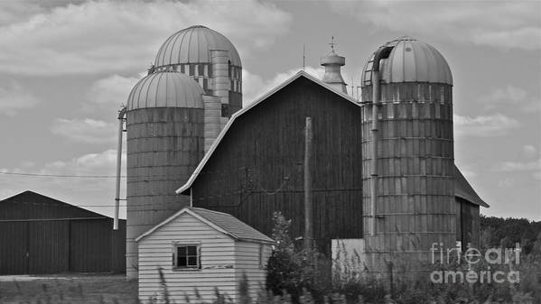 Barn Art Print featuring the photograph Barn And Silos In Black And White by Pamela Walrath