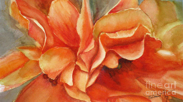 Orange Art Print featuring the painting Floral Flash by Mohamed Hirji