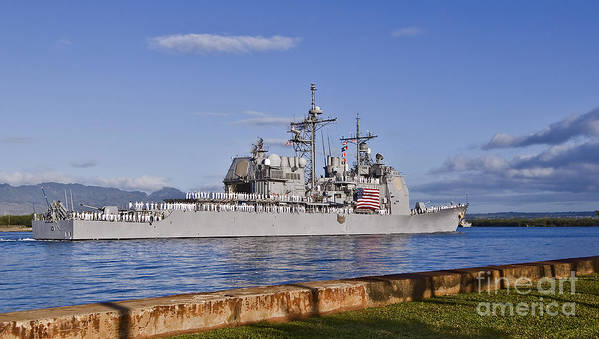 Uss Port Royal Art Print featuring the photograph Sailors Aboard The Guided-missile by Stocktrek Images