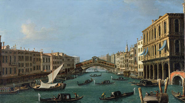 View Of The Grand Canal From The South Art Print featuring the painting The Grand Canal by Antonio Canaletto