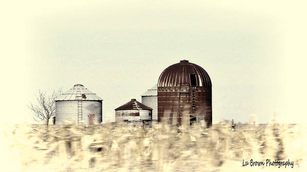 Photography; Photograph; Photo; Picture; Country; Black And White; Silo; Rural; Landscape; Art Art Print featuring the photograph Silo's by Lu Brown