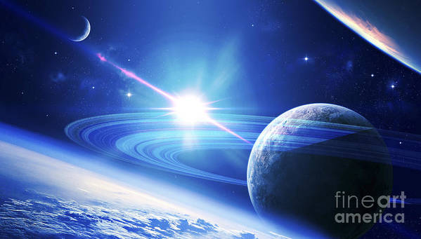 No People Art Print featuring the digital art A View Of A Planet As It Looms In Close by Kevin Lafin