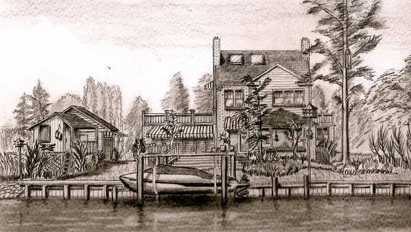 House Art Print featuring the drawing At Home On The River by Vic Delnore