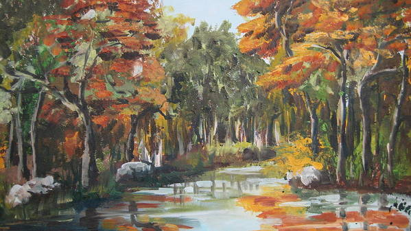 Landscape Art Print featuring the painting Autumn In The Woods by Mabel Moyano
