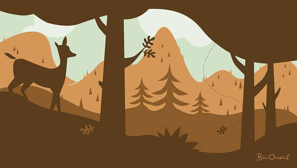 Landscape Art Print featuring the print Autumn Landscape With Deer by Bill ONeil