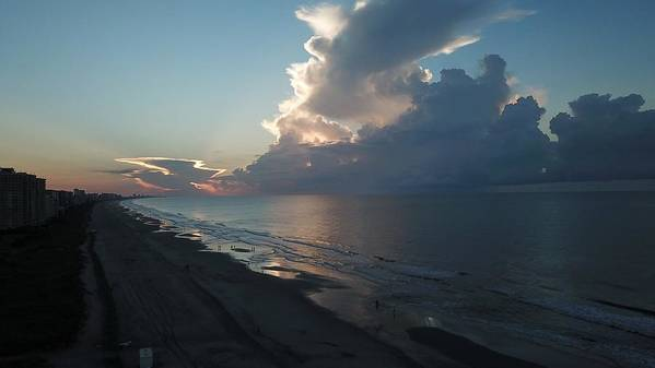 Beach Sunrise Silver Lining Clouds Digital Drone Art Print featuring the digital art Beach Silver Lining by James Mcpherson