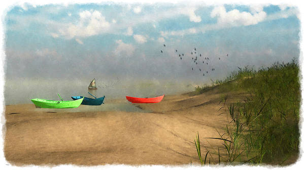 Seaside Art Print featuring the digital art Beached... by Tim Fillingim