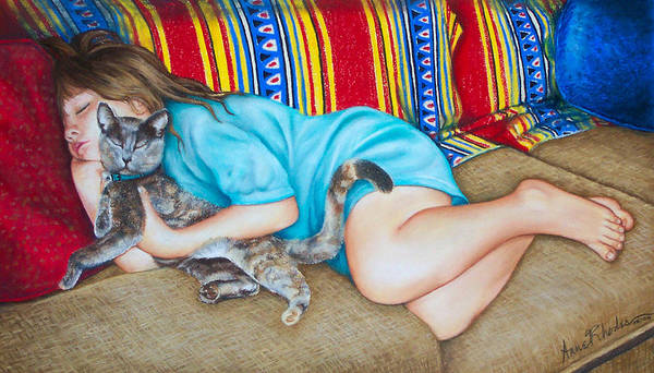 Portrait Art Print featuring the painting Catnap by Anne Rhodes