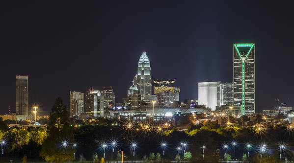 Cityscape Art Print featuring the photograph Charlotte Night by Brian Young