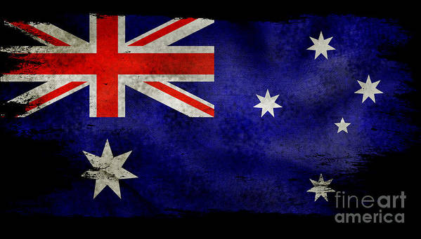 Australia Flag Art Print featuring the photograph Distressed Australia Flag by Jon Neidert