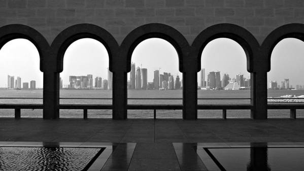 Horizontal Print featuring the photograph Doha Skyline From Museum by Gregory T. Smith