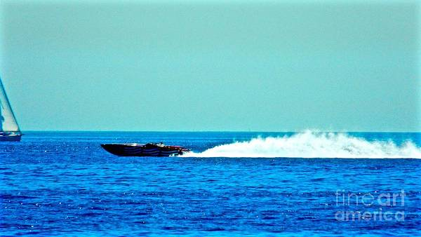 Speedboat Art Print featuring the photograph Faster Faster Captain Murray by Jacqueline Howe